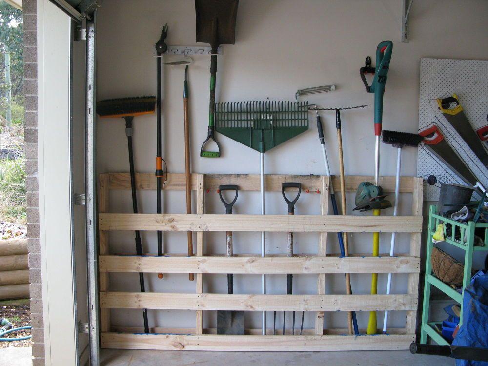 DIY pallet for yard tool storage